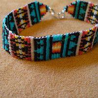tear / praça ponto frisado nativo americano inspirado Pendelton pulseira inspirada
