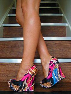 Aldo Shoes Size 6 Purple Multicolour Wedges Sandals Peep Toes High Heels Rare