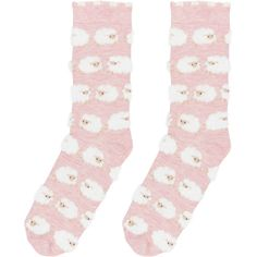 Accessorize Samia Fluffy Sheep Sock ($7) ❤ liked on Polyvore featuring intimates, hosiery, socks, cuff socks, sheep socks, sheepskin socks and pink socks