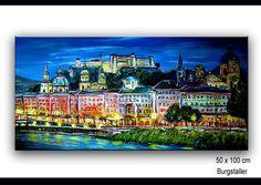 SALZBURG AT NIGHT - ORIGINAL ARYLBILD | MODERNE KUNST MALEREI | KÜNSTLER GEMÄLDE VON BURGSTALLERS-ART - www.burgstallers-art.de Art Original, Mansions, Portfolio, House Styles, Decor, Skyline Painting, Modern Paintings, Original Paintings
