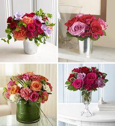 Four arrangements of roses