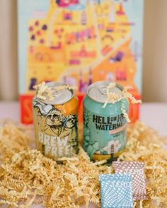 Alex and Brandon created welcome bags for out-of-town guests that included the couple's favorite local beer, snacks, and info on nearby activities. Check out this garden-party wedding in San Francisco! Wedding Favours Bridesmaids, Beach Wedding Favors, Bridal Shower Favors, Wedding Souvenir, Nautical Wedding, Wedding Bells, Wedding Welcome Baskets, Wedding Welcome Gifts, Wedding Bag