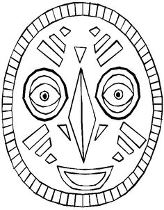 Printable African Masks to Color | African Mask Shell Design Twisted Pointe Shoes