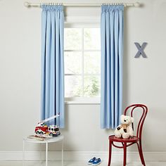 Little Home At John Lewis Plain Pencil Pleat Blackout Lined Curtains Blue Online