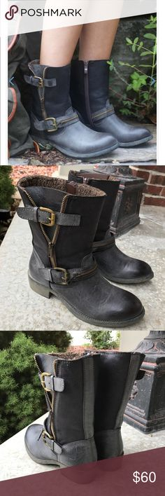 "Altard state boots These rugged boots are just what you need this fall. Their brass zippers and buckles contrast well with their striking two-toned leather design. The Liam boot has a fur interior. Wore 1 time. Excellent condition. 1 1/2"" heel altard state Shoes Winter & Rain Boots"