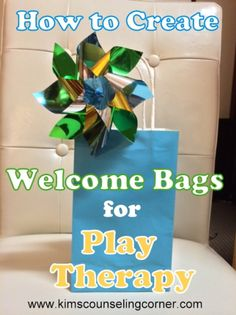 Welcome Bags for Play Therapy- I like the idea of a play therapy brochure and instructions for a calm down box.