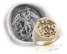 Saint Michael the Archangel Signet Ring - Century Depiction Saint Michael, Unusual Jewelry, Unique Rings, Mens Silver Jewelry, Silver Rings, Bishop Ring, Michael Ring, Urban Jewelry, Coin Ring