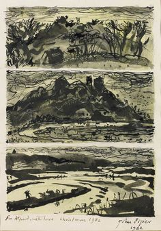 ✽   john piper   -  'granger hill'  -  pen, ink and watercolour  - 1982  -portland gallery
