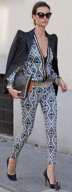 Elisabetta Franchi ~ in Structured shoulder blazer and jumpsuit