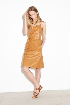 Buttery camel leather pinafore dress!!! Tomas Maier Resort 2015 Collection Slideshow on Style.com
