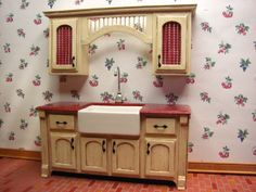 How to make miniature kitchen cabinets from mat board. Miniature Dollhouse Furniture, Miniature Kitchen, Dollhouse Dolls, Miniature Dolls, Dollhouse Miniatures, Victorian Dollhouse, How To Make Kitchen Cabinets, Contemporary Kitchen Cabinets, Dollhouse Tutorials