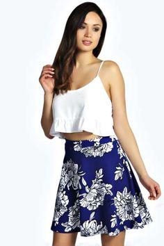 Sophie Large Floral Crepe Skater Skirt at boohoo.com