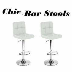 """2 Swivel White Elegant PU Leather Modern Adjustable Hydraulic Bar Stool Barstool by Modern Home. $109.99. 2 x Bar Stools. Color: White (also comes in Black). PU Leather seat / Seat adjustable height: 24.5""""-33.4""""  / The base is made from durable, chromed steel. A bar-style foot rest provides maximum comfort / The base is made from durable, chromed steel. Swivels 360 Degrees / Stainless Steel Frame. Our kitchen / bar counter top bar stools will be a rich, contemporary add..."""