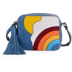 Anya Hindmarch Rainbow & Cloud Crossbody Bag (64.560 RUB) ❤ liked on Polyvore featuring bags, handbags, shoulder bags, blue, handbags crossbody bags, crossbody purses, leather purses, leather man bags, hand bags and purse crossbody