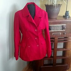 Like new Red Pea Coat! This jacket has only been worn a couple of times. In excellent condition and so cute! Steve & Barrys Jackets & Coats Pea Coats