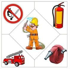 Firefighter and fire safety crafts for kids Preschool Jobs, Community Helpers Preschool, Preschool Education, Preschool Worksheets, Preschool Activities, Puzzles Für Kinder, Puzzles For Kids, Fireman Crafts, Fire Safety Crafts