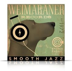 Weimaraner records original graphic art gallery wrap on gallery wrapped canvas by stephen fowler