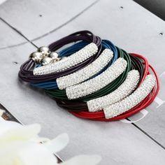 5 Colors Multi Strand Leather Shamballa Bracelets Combination