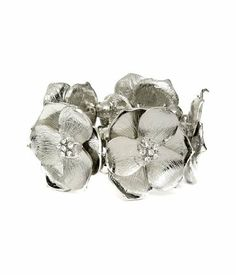 Silver Large Flower Stretch Bracelet Laurel and Sunset. $11.80