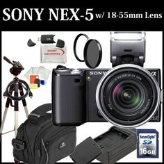 Sony Alpha Nex-5 Interchangeable Lens Digital Camera (Black) Single Lens Kit with Sony E-series 18-55mm F/3.5-5.6 OSS Lens W/shade+ 16GB SDHC Memory Card, Extra FW50 Battery Pack, Travel Charger, UV Filter, Rotating Circular Polarizer Filter, Fluid Head Tripod and much much more... by Digital. $709.49. This Kit Includes: 1- Sony Alpha NEX-5 Interchangeable Lens Digital Camera (Includes manufacturer's supplied accessories)  1- Sony E-series 18-55mm f/3.5-5.6 OSS Lens w/Shad...