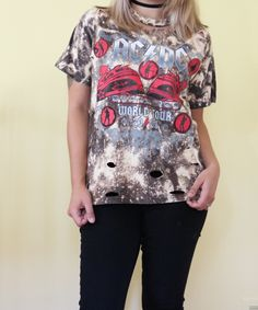 4018547715 Edgy distressed band tee. AC DC distressed shirt. Bleached shirt. Bleached  tee