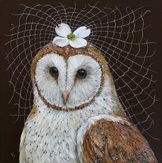Owl painting by Vicki Sawyer - Spring Bride Illustrations, Illustration Art, Owl Artwork, Owl Quilts, Felt Owls, Whimsical Art, Animal Paintings, Bird Art, Beautiful Birds