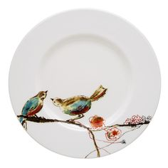 @Overstock.com - Lenox Chirp Salad Plate - Watercolor brush strokes bring you a charming design of two colorful birds perched atop a branch. And superior Lenox craftsmanship brings you a salad plate that's safe to use in the microwave, oven, freezer, and dishwasher.  http://www.overstock.com/Home-Garden/Lenox-Chirp-Salad-Plate/8316131/product.html?CID=214117 $22.28