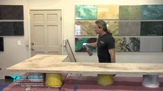 iCoat Products owner, Tim Phelps shows you how to mimic granite by coloring your concrete countertops Ivory Brown.