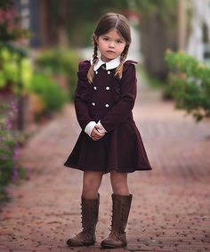 Loving this Burgundy & White Pleated Ruffle Dress - Kids on #zulily! #zulilyfinds