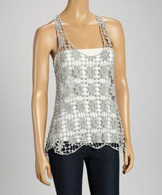 Another great find on #zulily! Gray Crochet Racerback Tank #zulilyfinds