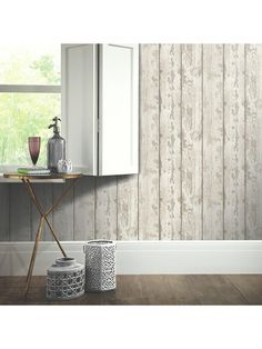 Rustic White Washed Wood Wallpaper 694700 - By Arthouse Decor, Whitewash Wood, Wood, Home Art, Feature Wallpaper, Rustic White, Wood Wallpaper, White Paneling, Wall Paneling