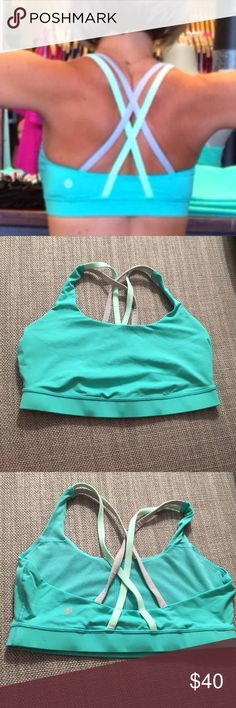 Lululemon Energy Bra - Blue/White/Silver Comfortable and stylish sports bra. Great quality, only worn twice! No pads. Rare color - price is firm. lululemon athletica Intimates & Sleepwear Bras