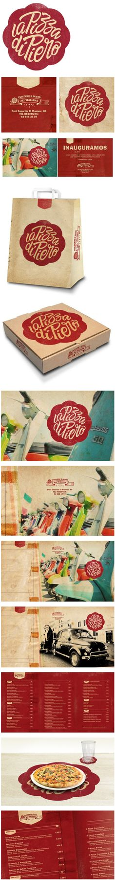 La Pizza de Piero branding by Alex Ramon. Great use of textures and color. Corporate Design, Brand Identity Design, Graphic Design Typography, Branding Design, Pizza Branding, Pizza Logo, Food Branding, Identity Branding, Corporate Identity
