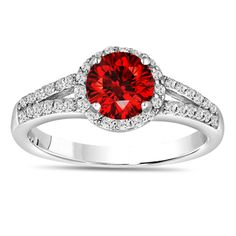 950 Platinum Fancy Red Diamond Engagement Ring Split Shang Halo Pave Handcrafted Rings