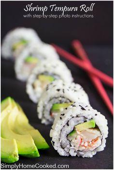 sushi roll with fried shrimp tempura.California sushi roll with fried shrimp tempura. Shrimp Tempura Sushi, Shrimp Sushi Rolls, Fried Shrimp, Cooked Sushi Rolls, Cooked Shrimp, Diy Sushi, Homemade Sushi, Sushi Sushi, Sushi Ideas