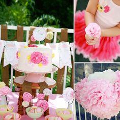 Festa de aniversário: Flores cor de rosa
