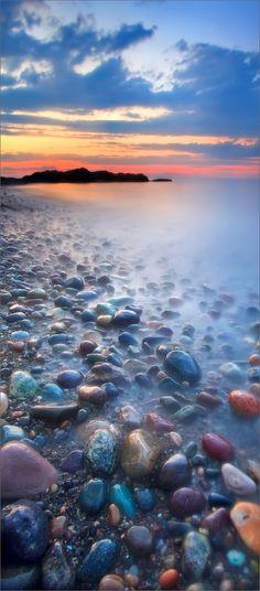 Cohasset, rocks, sunset, Massachusetts, USA