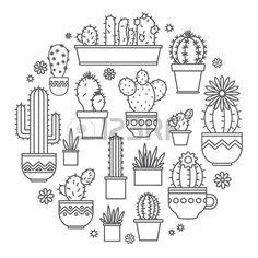 geradliniges Design Topfpflanzen Kaktus Lizenzfreie Bilder