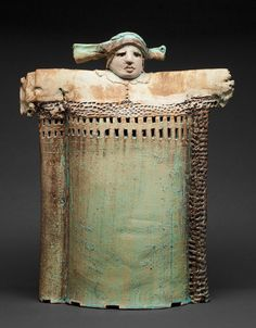 Rene Murray - Ceramics: archive Feudal Fortress Lady, 2011 22h X 14.5w X 5d Porcelaine Slab Built w Barium Matt Glaze