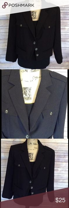 "WHBM size 14 black 3 button short blazer Pre-owned White House Black Market women's size 14 black 3 button short blazer with four front pockets. Only the top button buttons. The other two are decorative. Very good used condition. No rips holes or stains. 70% polyester 22% rayon 8% spandex. Great career work blazer!   Measurements:  Armpit to armpit- 21""  Armpit to sleeve- 14""  Length- 19""   I ship fast! Pay before 4:30pm Monday thru Friday and I will ship the same day!  Thank you for…"