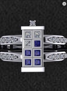 Dr Who Tardis Engagement/Right Hand Ring Rhodium Plated Sterling Silver with Sapphires