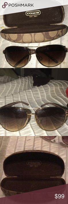 Authentic COAcH brown aviator glasses with case Coach sunglasses great condition and coach sunglasses case Coach Accessories Sunglasses