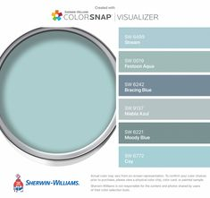 I found these colors with ColorSnap® Visualizer for iPhone by Sherwin-Williams: Stream (SW Festoon Aqua (SW Bracing Blue (SW Niebla Azul (SW Moody Blue (SW Cay (SW Aqua Paint Colors, Interior Paint Colors, Wall Colors, House Colors, Aqua Color, Blue Grey Paint Color, Duck Egg Blue Paint, Teal Paint, Paint Colors For Living Room