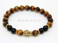 Aliexpress.com : Buy Ailatu Wholesale 10pcs/lot New Design Men's Beaded Jewelry Natural Tieger Eye Stone beads Silver and Gold Yoga Buddha Bracelets from Reliable bracelet mail suppliers on Rainbow Industrial Development Co.,Ltd