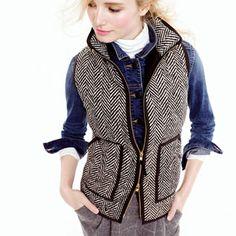 Definitely ordering this herringbone quilted vest via j.crew