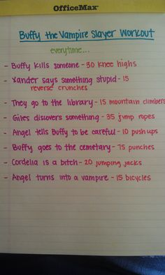 On a Buffy kick again! I'll have to do this -Buffy the Vampire Slayer Workout