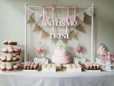 Rainbows and angels baptism  party! See more party planning ideas at CatchMyParty.com!