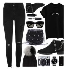 """Black Outfit Look"" by monmondefou ❤ liked on Polyvore featuring River Island, Bobbi Brown Cosmetics, Yves Saint Laurent, Givenchy, Chanel and black"