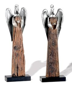 Take a look at this Reclaimed Wood Angel Figurine - Set of  Two on zulily today!