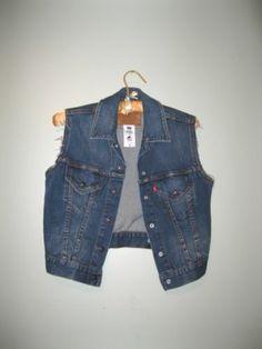 Women's Levi's Denim Vest Snap Front Red Tab Levis Cropped Vest s M | eBay